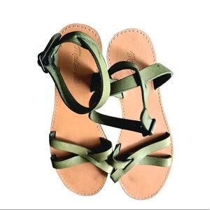 Madewell Olive Green Boardwalk Ankle-wrap Sandals